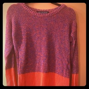French Connection Coral and Purple Sweater
